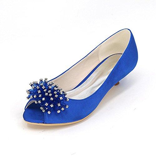 Custom Color L Heels Wedding Wedding Peep High Toe Size Shoes YC Blue Multi Large Women APrOP