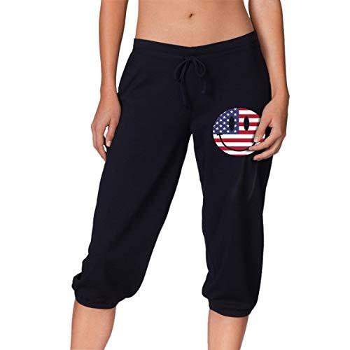 Q64 US Flag Smiley Face Women's Lounge Capri Legging Fitness & Gym Trousers Black (Smiley Face Lounge Pants)