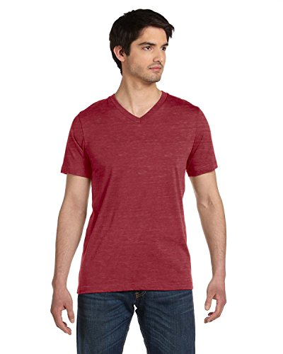 Bella + Canvas Unisex Jersey Short Sleeve V-Neck Tee (Maroon Marble) (2X)
