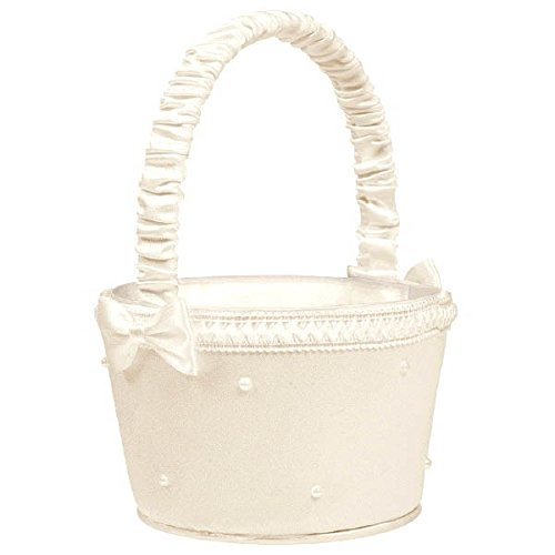 Classic Wedding Ceremony Accessories Flower Basket with Faux Pearls Party Supply, Ivory , Fabric , 7