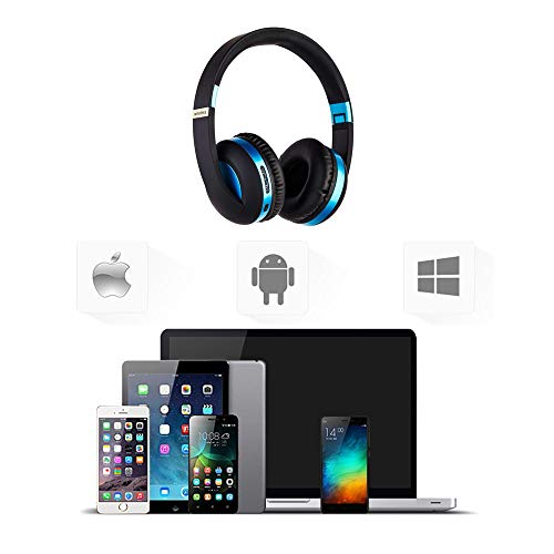 Wireless Headset with Mic,Foldable Bluetooth Headphone with 3.5mm Audio Jack for PC/iPhone/Android Smartphones Computers(Black+Blue) by YSSHUI (Image #7)