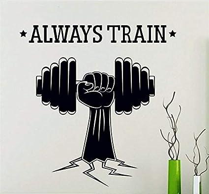Mancuernas deportivas Siempre Entrenar Fitness Etiqueta de La Pared Deportes Gimnasio Yoga Power Decal Art Decoración