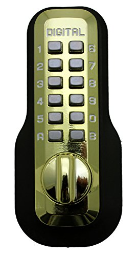 - Digital Door Lock M210 Mechanical Keyless Deadbolt, Bright Brass