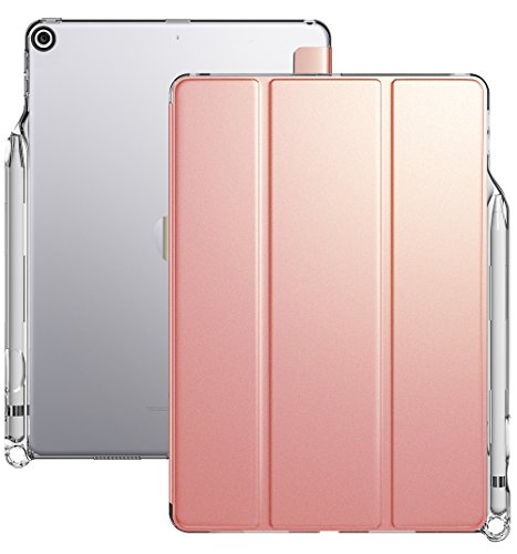 iPad 9.7 Case, Poetic Lumos X Flexible Soft Transparent Ultra-Thin TPU Slim-Fit Trifold Stand Folio Smart Cover [Auto Wake/Sleep][Pencil Holder] for New Apple iPad 9.7 (6th Gen 2018) Rose Gold/Clear (Best Ipad Engraving Ideas)