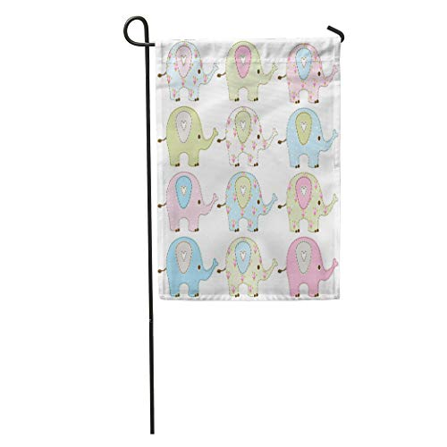 Semtomn Garden Flag Shabby Baby Elephants Chic Boy Its Girl Cute Clipart Hearts Home Yard House Decor Barnner Outdoor Stand 28x40 Inches Flag