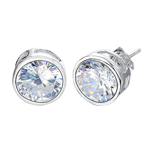 EVER FAITH 925 Sterling Silver Round Cut CZ Simple 8MM Basket Set Stud Earrings ()