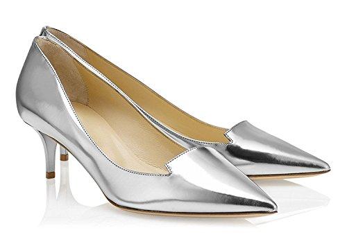 da EDEFS Mid Argento Heels Scarpe 6 Donna tacco Gattino 5cm Scarpe col Tacco 55rfSqwnU