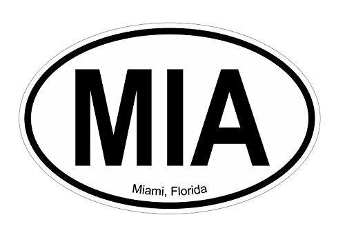 Slap-Art MIA Miami FL Oval Vinyl Decal Sticker