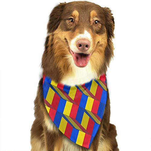ZZJIAK Dog Bandana Scarf Romania Flag 3D Art Pattern Triangle Bibs Printing Kerchief Set Accessories Dogs Cats Pets]()
