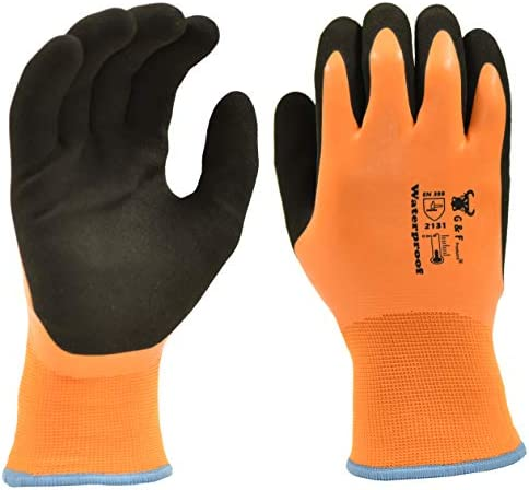 G & F Products 100% Waterproof Winter Gloves for out of doors chilly climate Double Coated Windproof HPT Plam and Fingers Acrylic Terry internal stay fingers heat at -58F X-Large, 1628XL