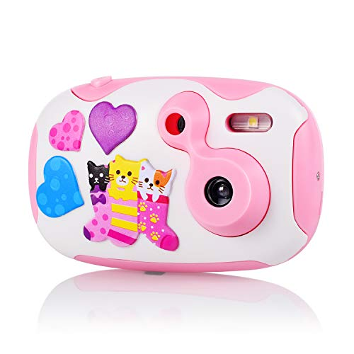 OHPA Digital Camera for Kids, 1.44 inch HD Mini Kids Camera Educational Toys Learning Children Camcorder, Toddler Camera with 2 DIY Replaceable Covers for Boys Girls ( Pink )