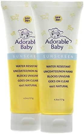 Adorable Baby All Natural Sunscreen SPF 30+ Non-Nano Zinc Oxide UVA/UVB 4.3oz By Loving Naturals (2 Pack)