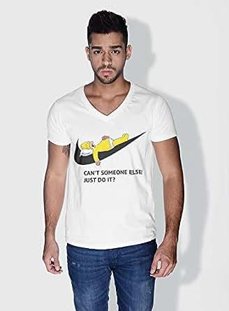 Creo Simpson Minions Vshape Neck T-Shirt For Men - White, L