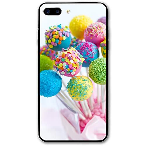 iPhone 8 Plus Case,Personalized Rainbow Colored Lollipops Floral Print PC Cellphone Case