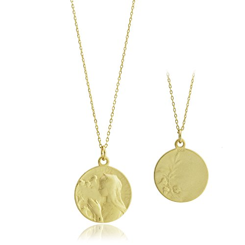 (CISHOP Maryam Round Disc Pendant Necklace 18K Gold Plating Sterling Silver Collected Coin Necklace)