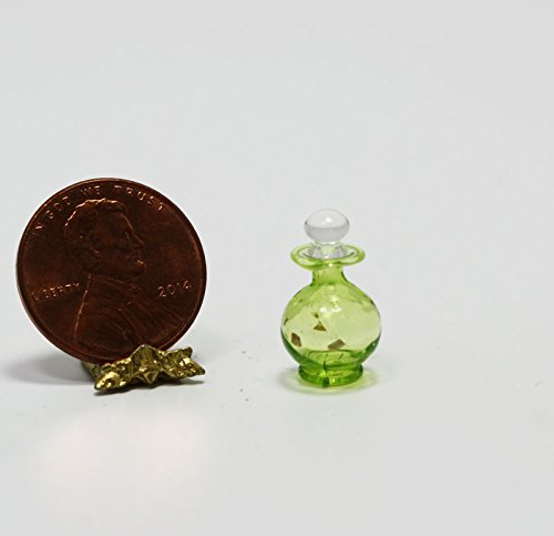 (Philip Grenyer Miniature 1:12 Scale Artisan Green Pressed Glass Perfume Decanter)