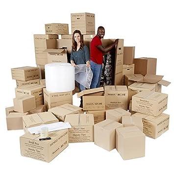 4 - 5 cama Kit para mover - Casa eliminación cartucho de almacenamiento - 40 cajas de cartón y artículos. - ref amk050: Amazon.es: Oficina y papelería