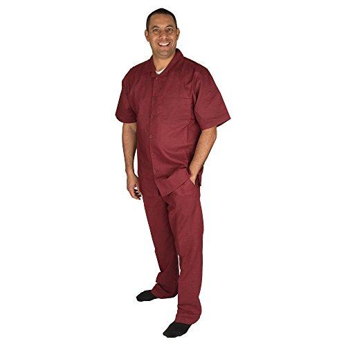 Vittorino Men's 100% Linen 2 Piece Walking Set with Long Pants and Short Sleeve Shirt, Wine, Medium 32-32