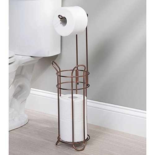 mDesign Toilet Paper Holder and Reserve for Bathroom - Venetian Bronze by mDesign