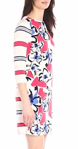 Kleid Damen Rundkragen 3/4 Ärmel Blumendrucken Stitching Gestreift Elegant Schlank Kurz Kleider Cocktailkleid V88nrGKms
