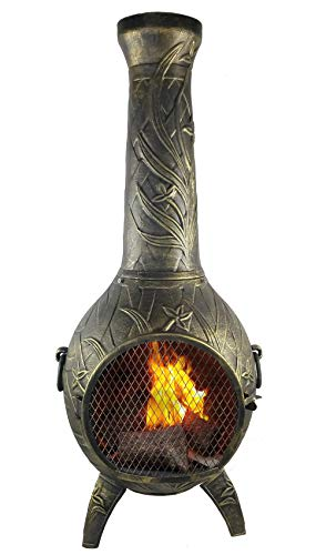 (The Blue Rooster CAST Aluminum Orchid Style Wood Burning Chiminea in Gold Accent.)