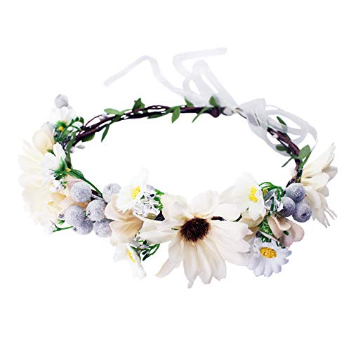 Vivivalue Boho Handmade Flower Wreath Halo Headband Floral Hair Garland Crown Headpiece with Ribbon Festival Wedding Beige ()
