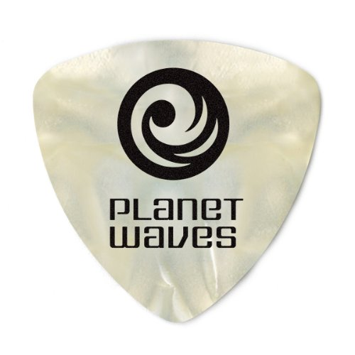Planet Waves White Pearl Celluloid Guitar Picks, 10 pack, Light, Wide Shape -