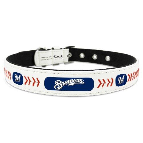 MLB Milwaukee Brewers Classic Leather Baseball Dog Collar (Toy) (Milwaukee White Baseball Brewers)