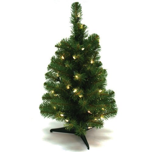 Wideskall Tabletop Christmas Pine Tree 2 Feet Artificial with 30 LED Warm White Lights (Foot 1 Christmas Lights)