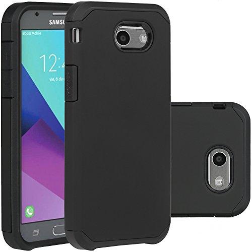 Samsung Galaxy J3 Emerge Case, Black J3 Prime/J3 2017/Amp Prime 2/Express Prime 2/Sol 2/J3 Luna Pro/J3 Eclipse/J3 Mission Case, LUHOURI Hybrid Armor Rugged Defender Protective Cover (Black)