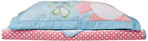 Mi Zone Kids Crazy Daisy Twin Bedding For Girls Quilt Set - Sky Blue, Pink , Flowers, Butterfly – 3 Piece Kids Girls Quilts – Ultra Soft Microfiber Quilt Sets Coverlet (Quilts Childrens Bedding)