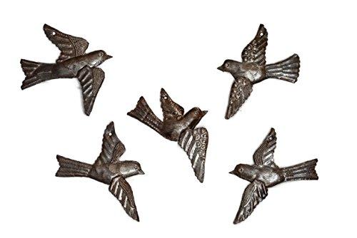 Haitian Drum Art (Haitian Birds Recycled Steel Drum Art 3-d Wings (Set of 5), Haitian Bird Art 5