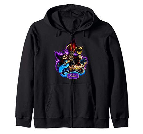 Disney Aladdin Jafar Purple Flame Portrait  Zip Hoodie (Flame Aladdin Blue)