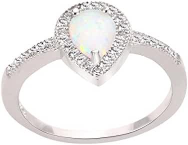 Teardrop White Simulated Opal and Cubic Zirconia Embraced Ring Sterling Silver (Sizes 3-13)