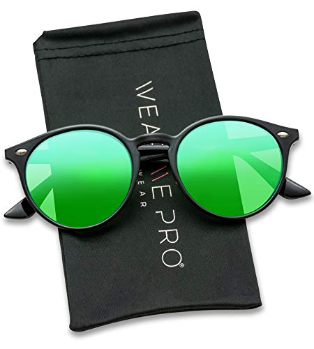 WearMe Pro Classic Small Round Retro Sunglasses, Black Frame / Mirror ()