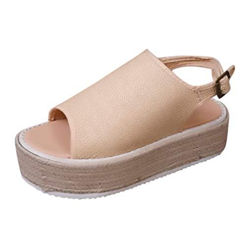 Auniemifly Womens Vintage Strap Buckle Sandal Peep-Toe Grass Hemp Thick Bottom Shoes Ladies Roman Platform Beige]()