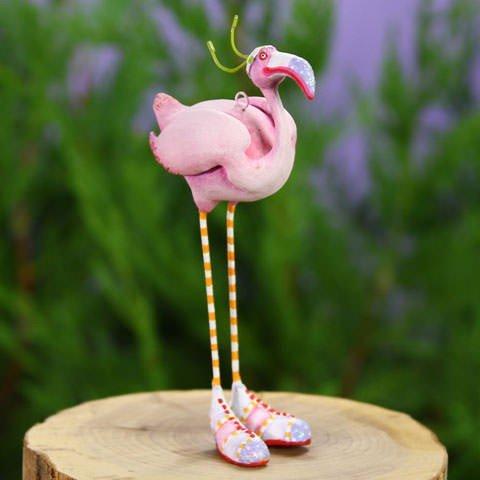 Patience Brewster Home Decor Mini Sheila Flamingo Christmas Figural Ornament #31003 - Krinkles Christmas Reindeer