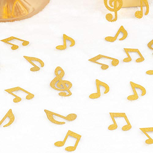 YESON Gold Glitter Music Note Confetti,Music Clef Table Confetti,for Music Themed Events,Rock Star Party,Karaoke Party Supplies Decorations,Pack of 100