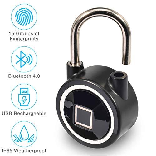 Micalock Biometric Smart Padlock Fingerprint Bluetooth Keyless Unlock IP65 Waterproof New Generation (Black)