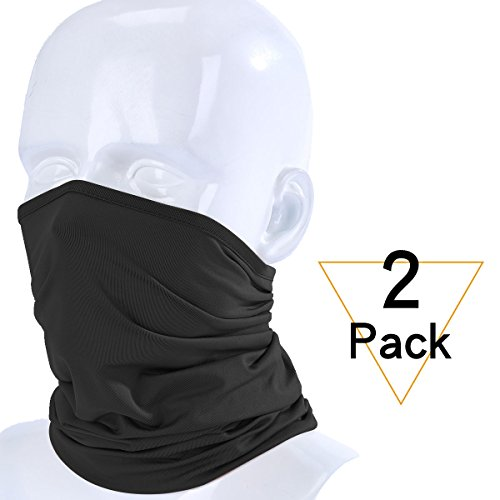 JIUSY 2 Pack or 1 Pack - Lightweight Thin Neck Gaiter Protection Face Mask for Outdoor Sport