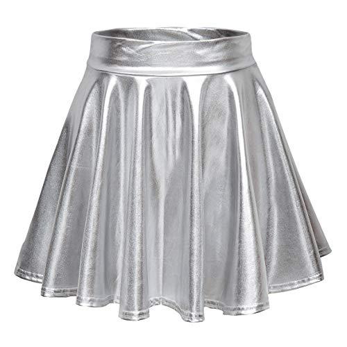 Metallic Silver Skirt - Urban CoCo Women's Shiny Flared Pleated