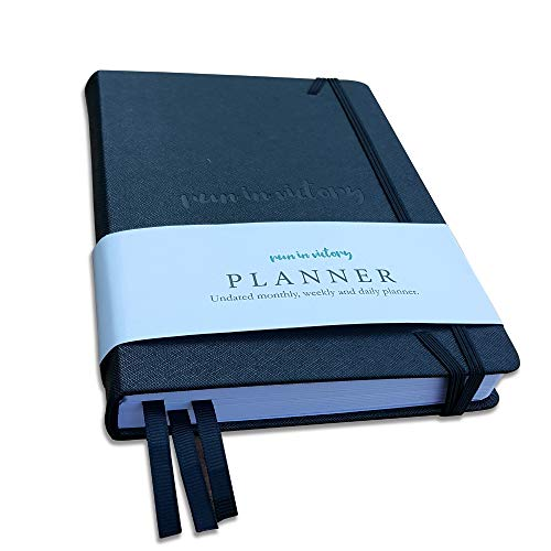 Undated Planner- Daily, Calendar and Gratitude Journal to Increase Productivity, Time Management & Happiness- Black Hardback bound leather, 6 Months Planner- Journaling Bible, Christian Pastor