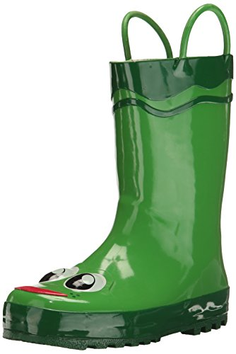 (Western Chief Boys Waterproof Printed Rain Boot with Easy Pull On Handles, Fritz the Frog, 9 M US)