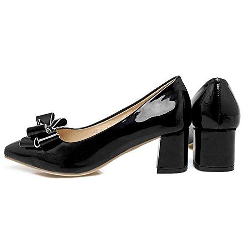Coolcept Zapatos de Tacon Ancho con Bow para Mujer Black