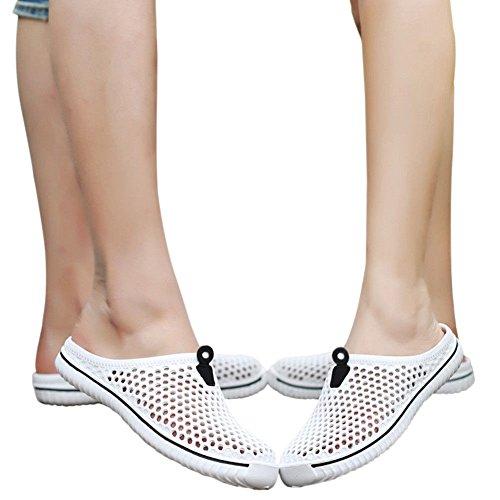 Haodasi Unisex Men Women Slippers Summer Hole Sandals,Lightweight Quick-Dry Mesh Beach Pool Anti-Slip Beach Water Shoes White