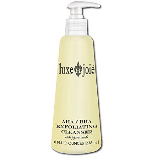 AHA BHA Exfoliating Cleanser 8 oz Exfoliating Jojoba Beads Acne Face Wash Anti-Aging Hydroxy Acids Glycolic for Combination Skin