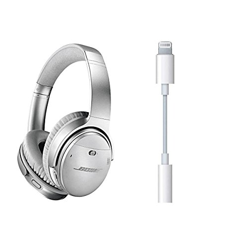 Bose QuietComfort 35 Wireless Headphones II with Microphone, Noise Cancelling, Silver - With Apple Lightning to 3.5mm Headphone Jack Adapter