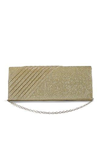 Women Long Clutch Purse Glitter Mesh Evening Bag Foldover Handbag With Chain Strap (beige, (Gold Mesh Evening Bag)