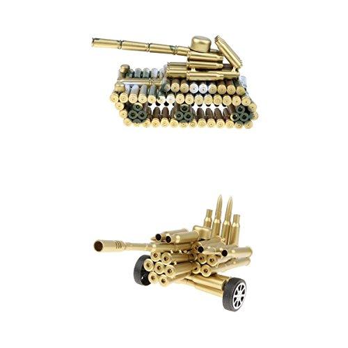 (MagiDeal Creative Metal Bullet Shell Artillery & Camo Tank Model Art Crafts Toy Home Décoration)