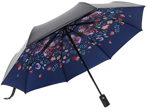 Hand Painted Umbrellas (RENZER Compact Travel Umbrella with Windproof Lightweight Starry and Blossom Automatic Foldable Navy)